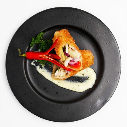 Nr.19 Indbagte rispapirrulle med kylling (bearnaisesauce)